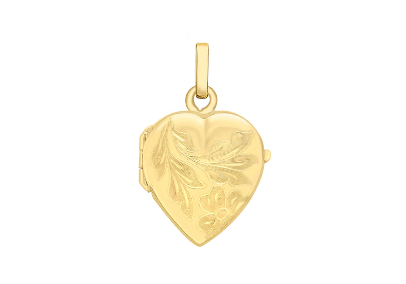 9ct Yellow Gold 16mm x 25mm Engraved Flower Heart Locket