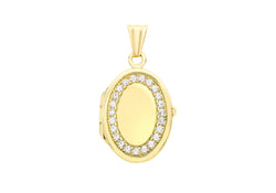 9ct Yellow Gold Zirconia  16mm x 24mm Oval Locket Pendant