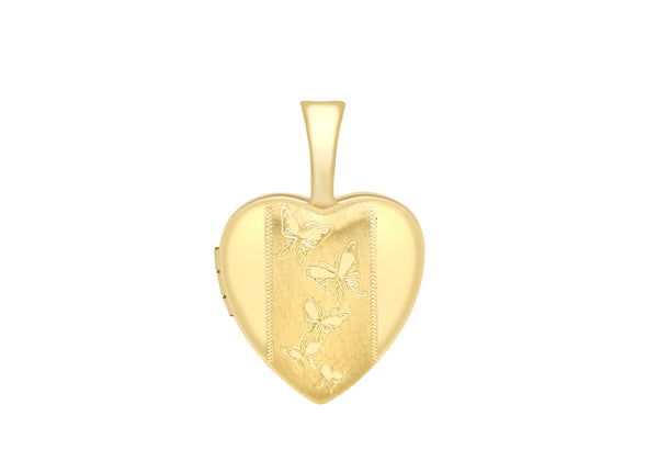 9ct Yellow Gold Small Etched Butterfly Detail Heart Locket