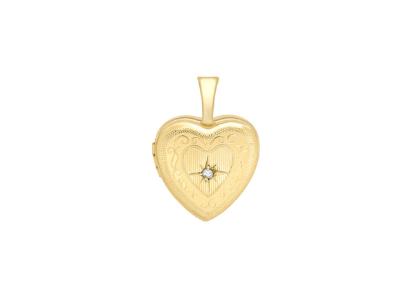 9ct Yellow Gold Small Diamond Set 12mm x 18mm Etched  Heart Locket
