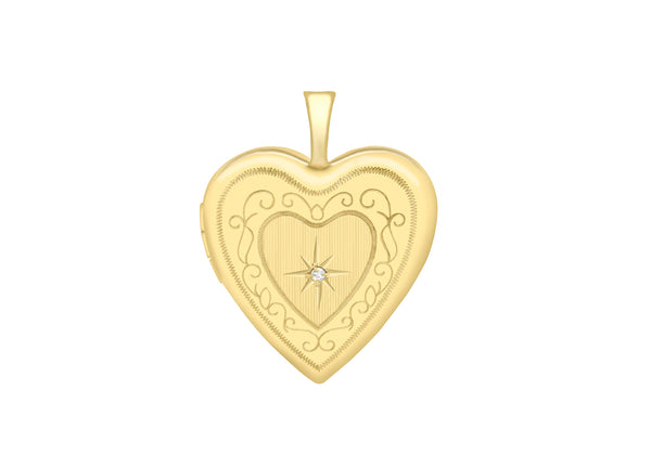 9ct Yellow Gold Diamond Set 20mm x 25mm Etched  Heart Locket
