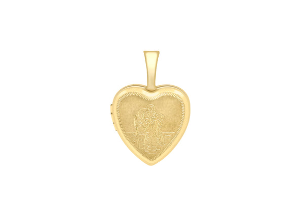 9ct Yellow Gold Small Etched St Christopher Heart Locket