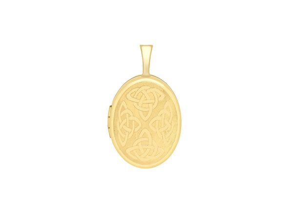 9ct Yellow Gold Small Etched Celtic Oval Locket