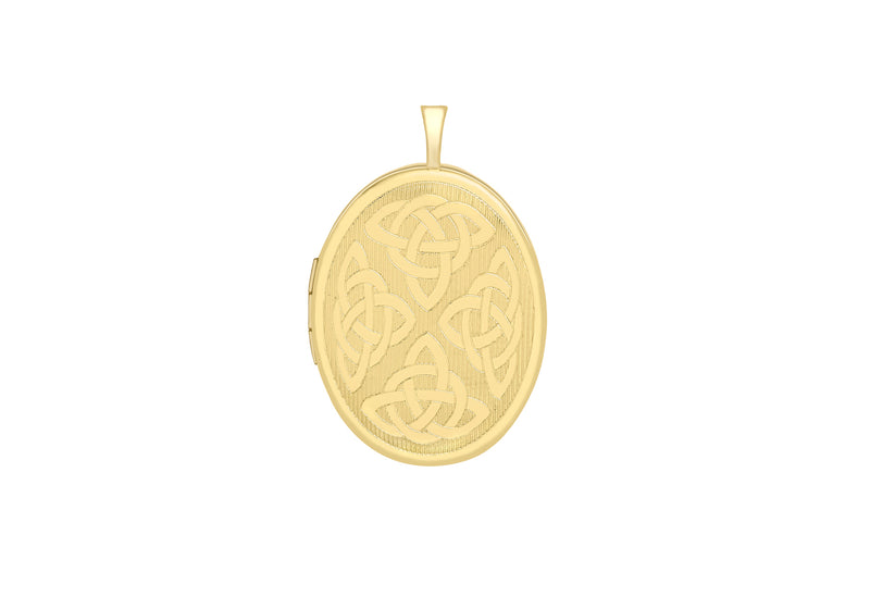 9ct Yellow Gold Etched Celtic Oval Locket