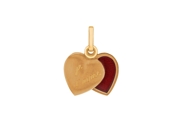 9ct Yellow Gold Satin 'je t'aime' Locket Pendant