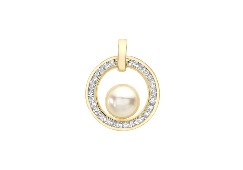 9ct Yellow Gold 1.5mm Zirconia  CutoCut Circle and Pearl Pendant