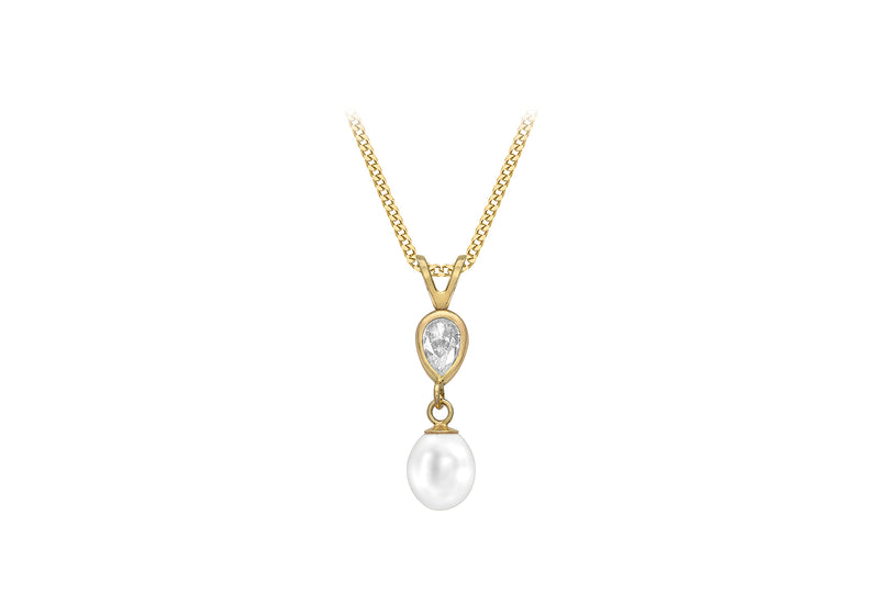 9ct Yellow Gold Fresh Water Pearl and Zirconia  6mm x 22.7mm Pendant