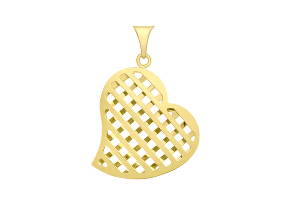 9ct Yellow Gold Slatted Puff Heart Pendant