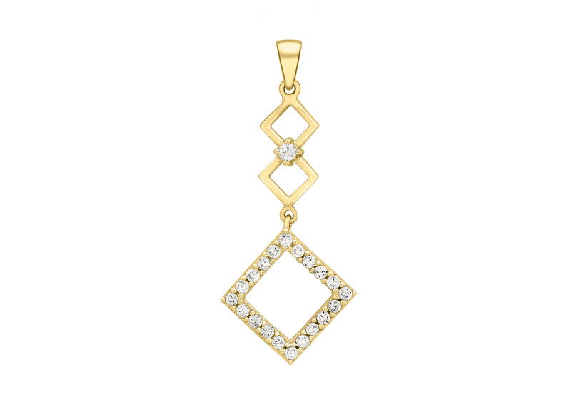 9ct Yellow Gold Zirconia  14mm x 30mm 3-Squares Drop Pendant