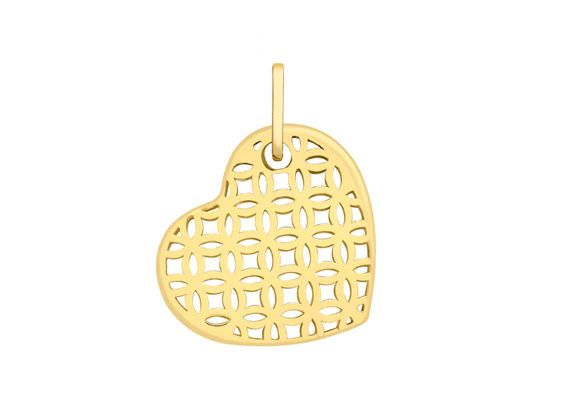 9ct Yellow Gold Patterned Heart Pendant