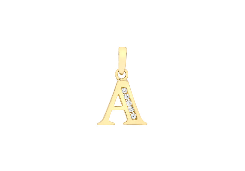 9ct Yellow Gold Zirconia  10mm x 12mm 'A' Initial Pendant