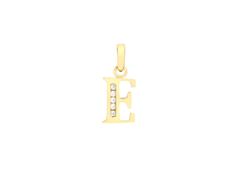 9ct Yellow Gold Zirconia  7mm x 12mm 'E' Initial Pendant