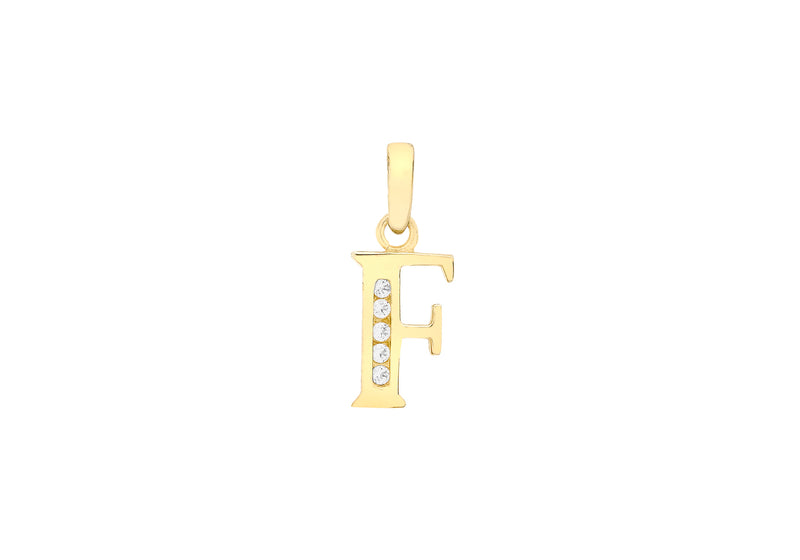 9ct Yellow Gold Zirconia  6mm x 12mm 'F' Initial Pendant