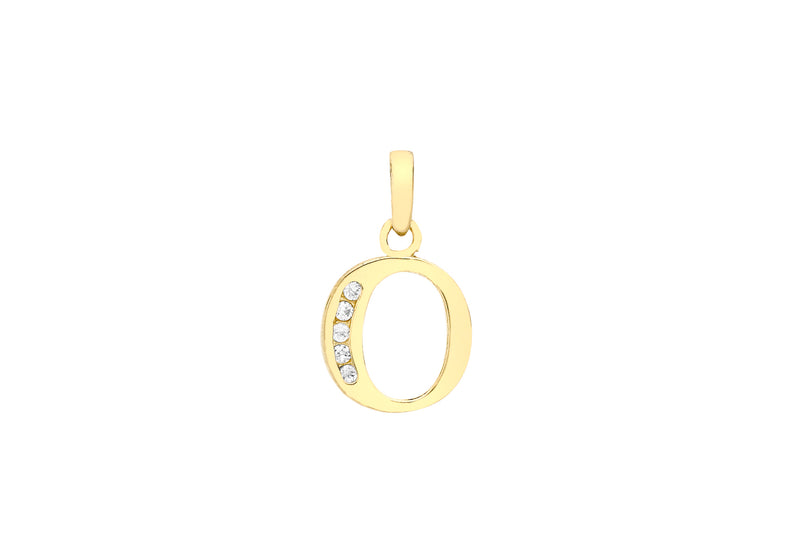 9ct Yellow Gold Zirconia  9mm x 12mm 'O' Initial Pendant