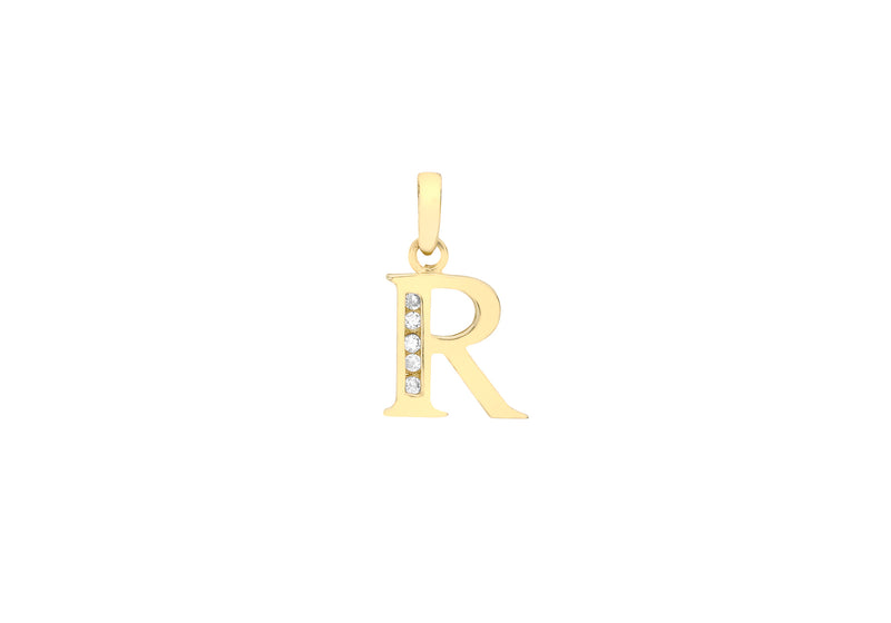 9ct Yellow Gold Zirconia  10mm x 12mm 'R' Initial Pendant