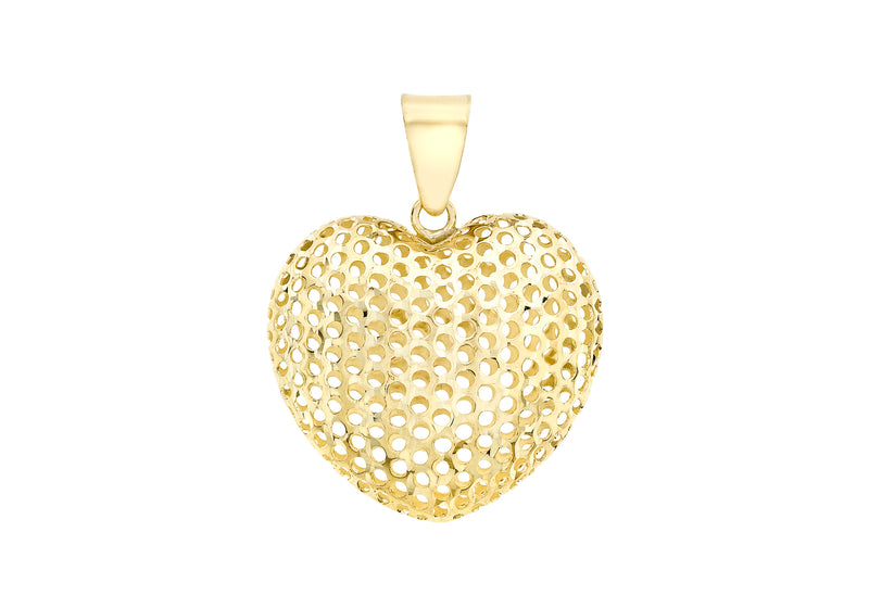 9ct Yellow Gold 20.3mm x 26.8mm Mesh Heart Pendant