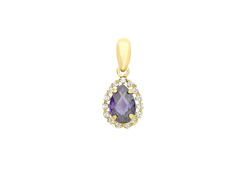 9ct Yellow Gold Blue and White Zirconia  Teardrop Pendant