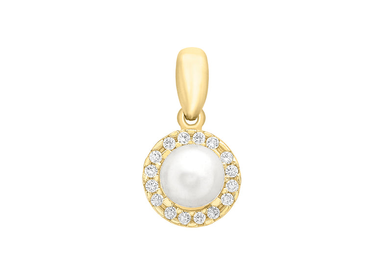 9ct Yellow Gold Zirconia  and Pearl 8mm x 15mm Pendant