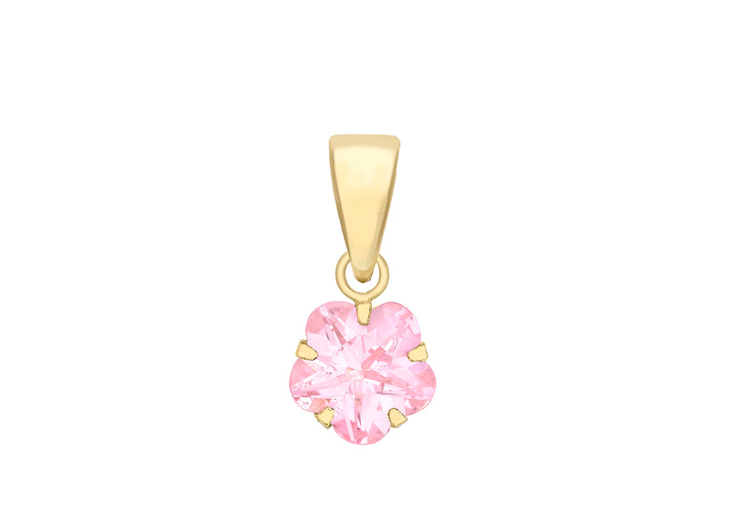 9ct Yellow Gold Pink Zirconia  Flower Pendant