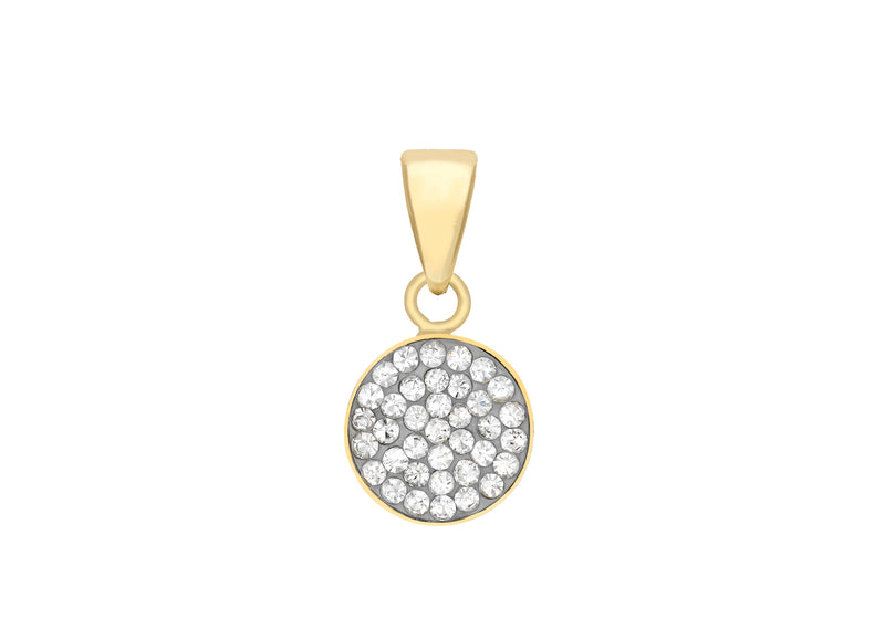 9ct Yellow Gold Pave Set Zirconia  Disc Pendant