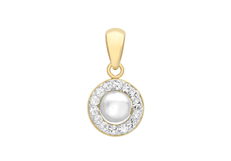 9ct Yellow Gold 9mm x 15mm Fresh Water Pearl and Crystal Round Pendant