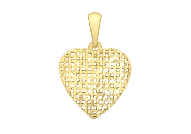 9ct Yellow Gold Diamond Cut Heart Pendant
