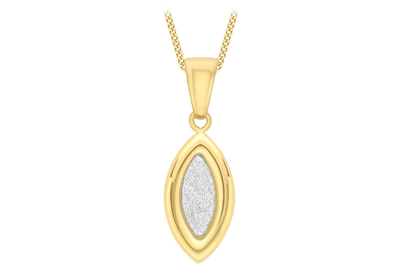 9ct Yellow Gold 8mm x 23mm Ellipse Stardust Pendant