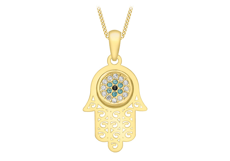9ct Yellow Gold Zirconia  Evil Eye 'Hamsa' Pendant