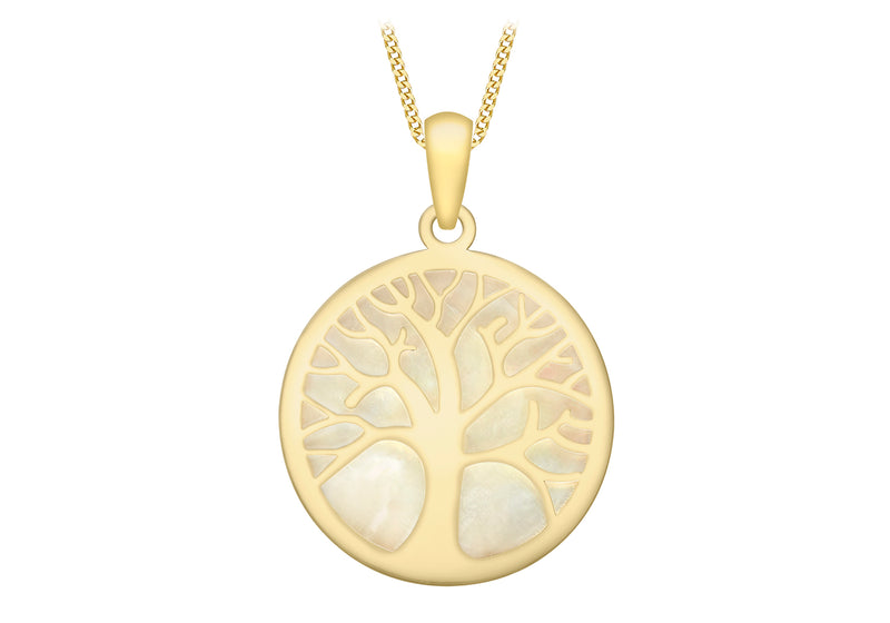 9ct Yellow Gold Mother of Pearl 17.2mm 'Tree of Life' Pendant