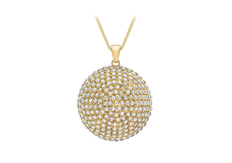 9ct Yellow Gold Zirconia  26mm Dome Pendant