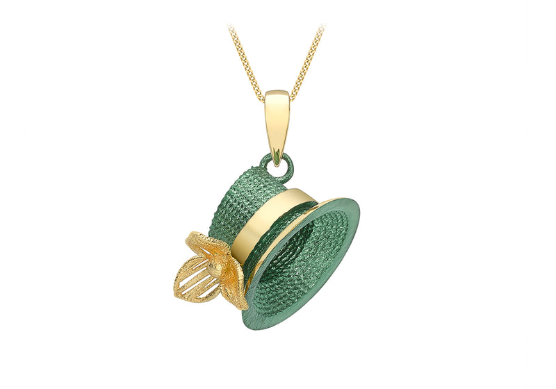 9ct Yellow Gold Green lohe Hat Pendant