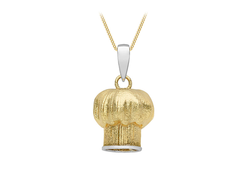 9ct 2-Tone Gold Chef's Hat Pendant