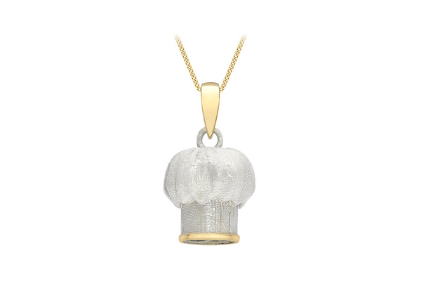 9ct Yellow Gold White Chef's Hat Pendant