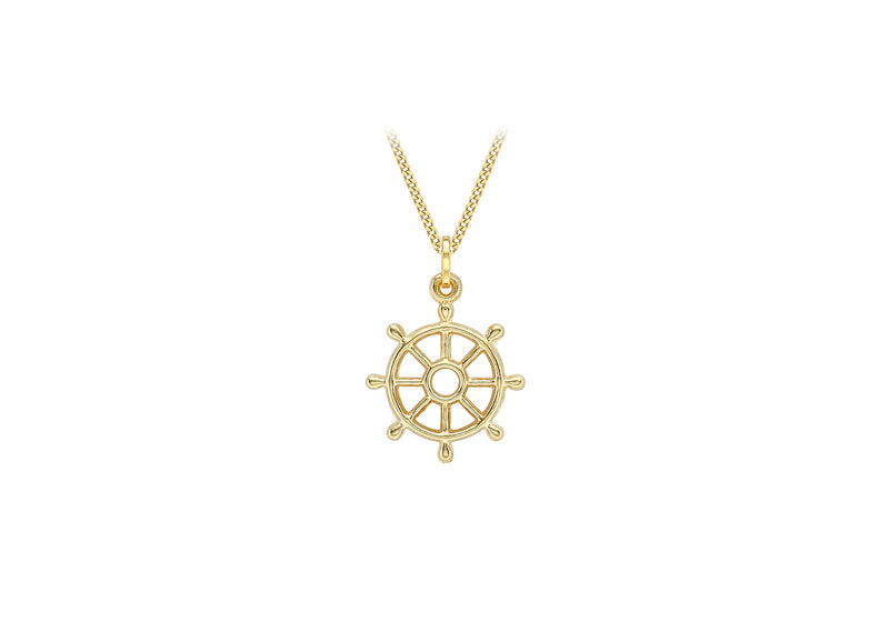9ct Yellow Gold 15.7mm x 22.7mm Ship Wheel Pendant