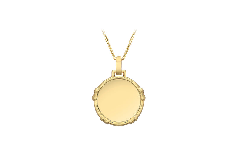 9ct Yellow Gold 24mm x 31.6mm Bow Edge Disc Pendant