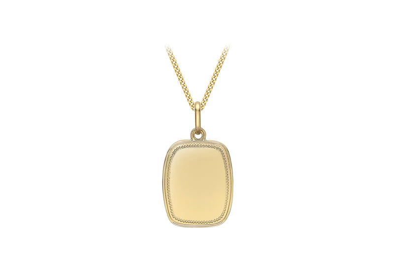9ct Yellow Gold 14.3mm x 25.5mm Rope Edge Tag Pendant