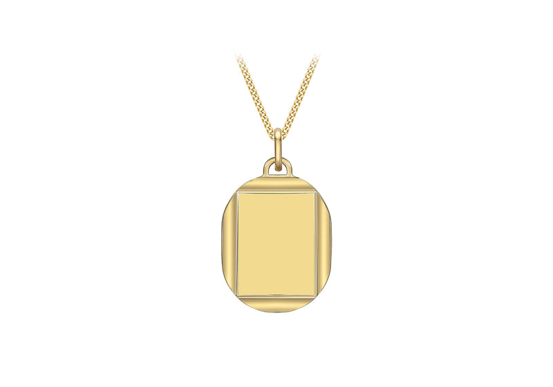 9ct Yellow Gold 16.7mm x 28.9mm Bevelled Edge Oval Pendant