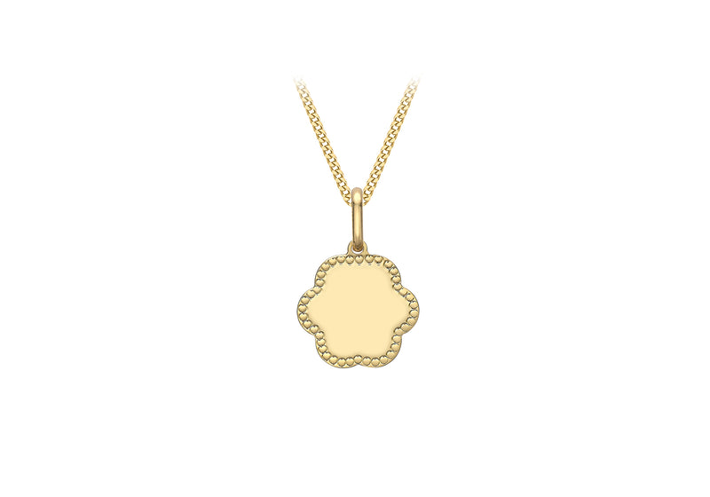 9ct Yellow Gold 12.4mm x 18.6mm Dotted Edge Flower Pendant