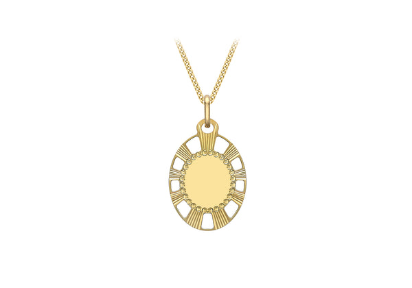 9ct Yellow Gold 15.7mm x 28mm CutoCut Dotted Diamond Cut Edge Oval Pendant