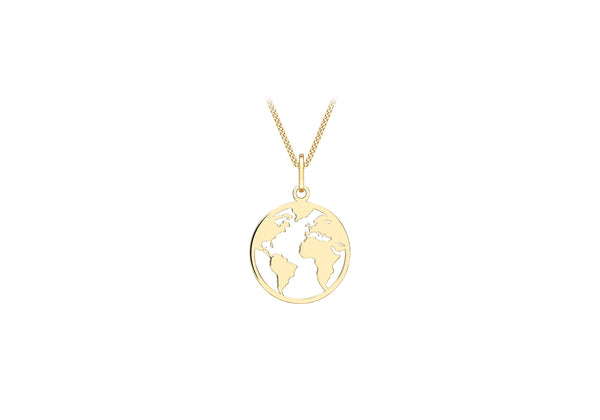 9ct Yellow Gold CutoCut World Map Disc Pendant