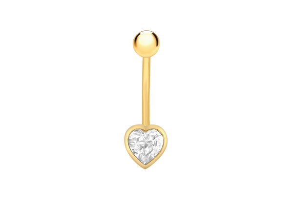 9ct Yellow Gold Zirconia  Heart Belly Bar9