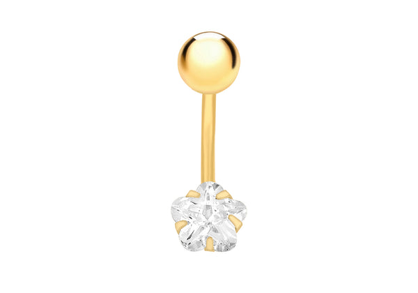 9ct Yellow Gold Zirconia  Star Belly Bar9