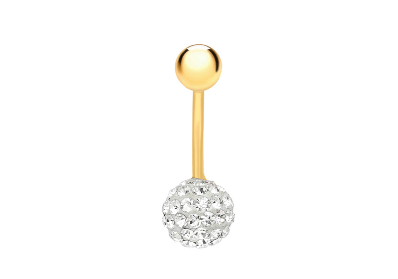 9ct Yellow Gold Round White Crystal Belly Bar9
