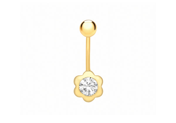 9ct Yellow Gold Zirconia  Flower Belly Bar9
