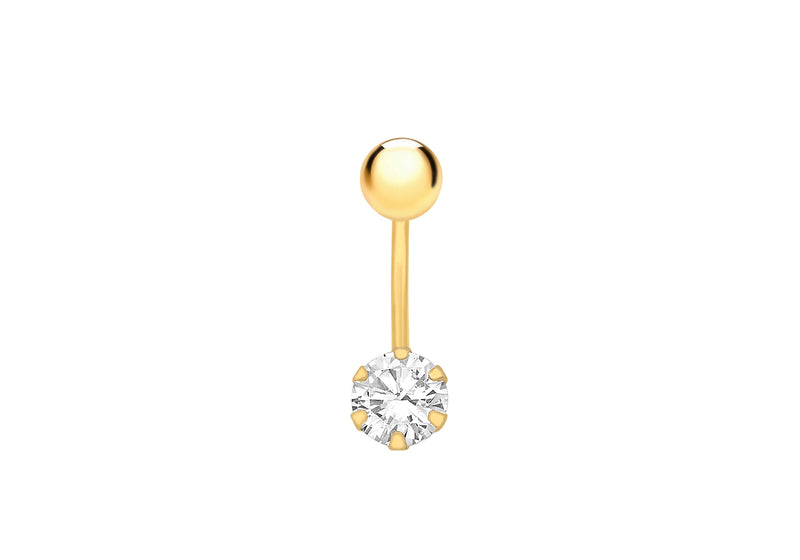 9ct Yellow Gold Round White Zirconia  Belly Bar9