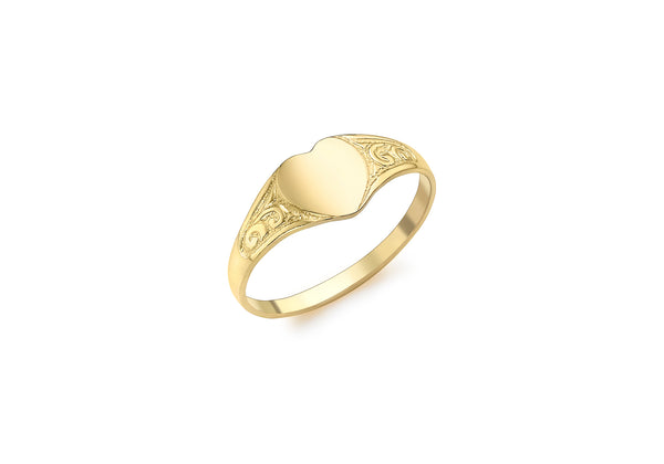 9ct Yellow Gold 6mm x 6mm Heart Child's Signet Ring