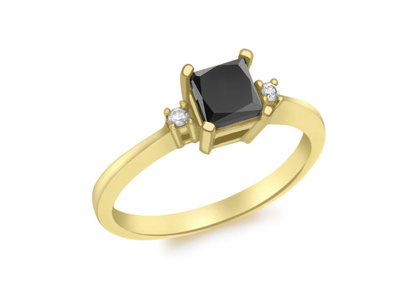 9ct Yellow Gold 0.92t Square Black and White Diamond Ring