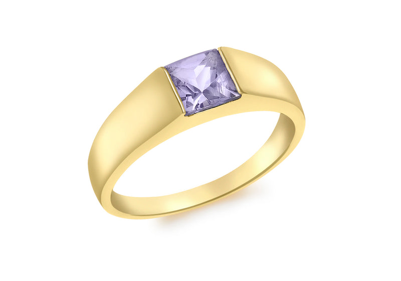 9ct Yellow Gold Square Iolite Dress Ring