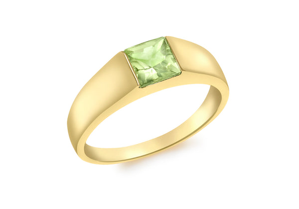 9ct Yellow Gold Square Peridot Dress Ring