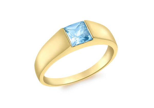 9ct Yellow Gold Square Blue Topaz Dress Ring